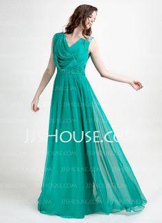 Evening Dresses - $136.69 - A-Line/Princess V-neck Floor-Length Chiffon Evening Dress With Ruffle Beading (020015821) http://jjshouse.com/A-Line-Princess-V-Neck-Floor-Length-Chiffon-Evening-Dress-With-Ruffle-Beading-020015821-g15821