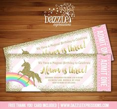 Printable Pink and Gold Glitter Unicorn Ticket Birthday Invitation | Rainbow | 1st Birthday Party | Horse or Pony party | DIY Print Your Own | Digital File | FREE thank you card included | Printable Matching Party Package Decorations Available! | Banner | Signs | Labels | Favor Tags | Water Bottle Labels and more! www.dazzleexpressions.com