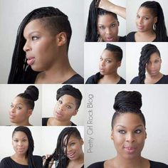 Protective Styling Hairstyle Ideas for Natural Hair: 10 ways / styles for braided or twisted hair extensions using kanekalon braiding hair Natural Hair Braids, Natural Hair Styles, Short Hair Styles, Shaved Side Hairstyles, Braided Hairstyles, Kid Hairstyles, Beautiful Braids, Gorgeous Hair, Hair Colors