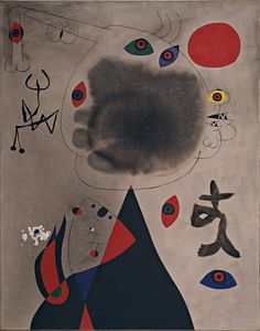 """""""Woman and Little Girl in Front of the Sun,"""" Nov. 30-Dec. 19, 1946. Oil on canvas lined to linen. Joan Miro, 1893-1983."""