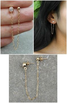 2-piercings Set of two connected earrings 14k gold filled