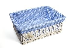 WoodLuv Large Wicker Storage Basket with Blue Gingham Lining, White Blue Gingham, Storage Baskets, Free Delivery, Your Favorite, Nursery Ideas, Room Ideas, Wicker, Family Room, Decorative Boxes