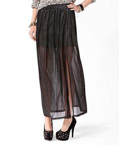 metallic blend slit skirt forever21