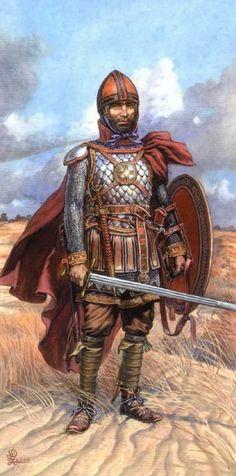 Конный воин новгородского тысячного полка. Защитное вооружение воина включает длиннорукавую западноевроп. кольчугу, чешуйчатый панцирь с пристяжными оплечьями и пристяжной кожаной юбкой. Доспех спереди и сзади усилен зерцальными пластинами. Верх панциря закрывает кожаное ожерелье, а шею – стеганый воротник. Шлем куполовидный, поверх него надет расписной кожаный чехол. Воин вооружен полутороручным мечом, западноевроп. кинжалом и булавой. Плащ заправлен за зеркальные ремни по обычаю того…