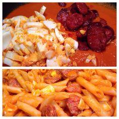 homECooking — Hoy Macarrones con Chorizo y Huevo… Como hace mi...