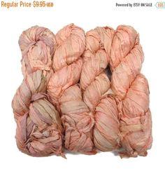 SALE New! Sari Silk Ribbon, 100g skein, Peach