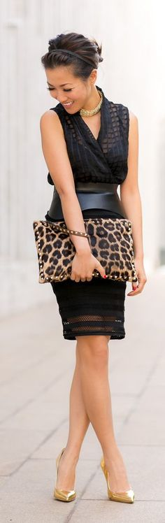 New York Striped Cutout Skirt Metallic Details Fantastic Look: