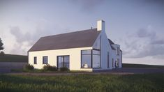 The proposed house is a modern representation of the traditional Irish vernacular form. The living block presents a narrow gable to the front whilst the bedroom block reads in union with this narrow form. House Designs Ireland, Attic Rooms, Donegal, New Builds, Exterior Design, Building A House, House Plans, Cottage, Architects