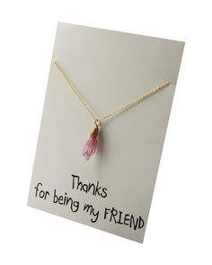 Thanks Friends and Family pink Stone Pendant Necklace. Good for : Mother's Day, Daughter's Day, Wedding , Engagement Gift, Christmas, Hanukkah