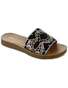 Women's Embroidered Sequin Decor Slip-On Platform Sandal Slides