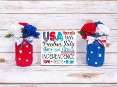 4th of July Decor Sign and 2 Mason Jars Patriotic Centerpiece   Etsy