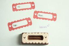 Heart Frame Label Border Scrapbook hand carved rubber stamp, eraser stamp