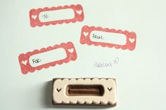 Heart Frame Label Border Scrapbook hand carved rubber stamp, eraser stamp