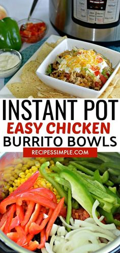 Pot Shredded Chicken Burrito Bowls Easy and delicious Instant Pot Chicken Burrito Bowls is the perfect dinner recipe for busy weeknights. via and delicious Instant Pot Chicken Burrito Bowls is the perfect dinner recipe for busy weeknights. Shredded Chicken Burrito, Chicken Burritos, Chicken Fajitas, Chicken Burrito Bowl, Instant Pot Dinner Recipes, Easy Dinner Recipes, Easy Meals, Instant Pot Pressure Cooker, Pressure Cooker Recipes