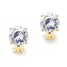 Mariell 3 Carat CZ ClipOn Earrings  95mm Round Solitaire 14K Gold Plated Cubic Zirconia Clip Studs *** See this great product.-It is an affiliate link to Amazon. #WeddingEarrings
