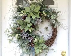 Holiday Wreath-Winter Wreath-Christmas Wreath-Christmas Decor-Elegant Christmas Wreath-Designer Christmas Wreath-Frosted Pine Wreath