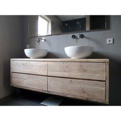 Steigerhouten badkamer meubel top - Wastafels - Badkamer