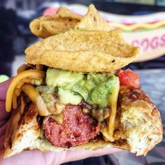 Best chili dog - hot dog topped with chili, guacamole, salsa, cheese, and fritos corn chips
