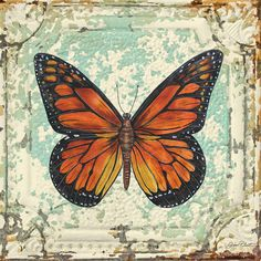 Lovely Orange Butterfly On Tin Tile Painting