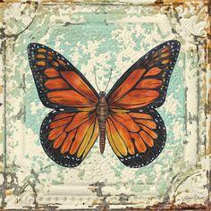 Lovely Orange Butterfly On Tin Tile Painting
