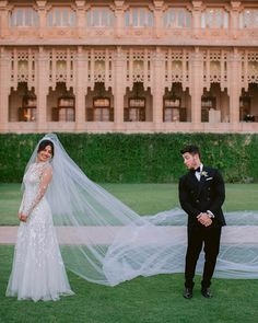 "Bollywood leading lady and ""Quantico"" star Priyanka Chopra wed American boyband heartthrob Nick Jonas in an elaborate wedding extravaganza held across India. For the Christian wedding ceremony, the bride wore a custom Ralph Lauren creation. It featured thousands of mother-of-pearl and Swarovski crystal embellishments and reportedly took 1,826 hours to complete. To top it all off, the gown came with a stunning 23-metre-long veil."