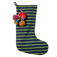 Jersey Knit Stripe Stocking – Kelly Green/Navy #serenaandlily