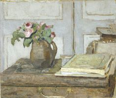 Édouard Vuillard (French, 1868-1940), The Artist's Paint Box and Moss Roses, 1898. Oil on cardboard, 36 x 42.9 cm.