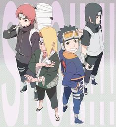 Sasori, Deidara, Obito & Sasuke  Credit: https://twitter.com/_robbbbby/media?lang=th