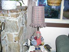 My torn fabric lamp shade.