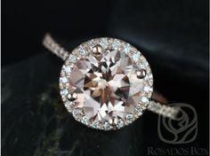 Rosados Box Kubian 9mm 14kt Rose Gold Round Morganite and Diamonds Halo Engagement Ring, $1,325.00