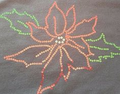 Poinsettia Sweatshirt Sequin Bling Festive Christmas Holiday Design Green XL #Gildan #LongSleeve