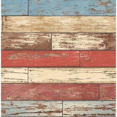 Brewster Levi Red Scrap Wood Wallpaper - 2704-22319