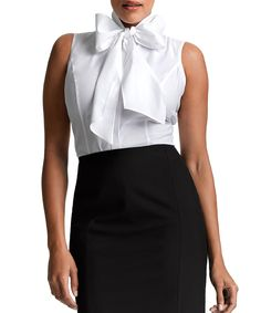 White Bow Button-Up Top - Women & Plus