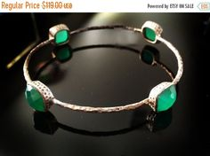 SALE Green Onyx BangleLarge 925 Sterling Silver by taneesijewelry
