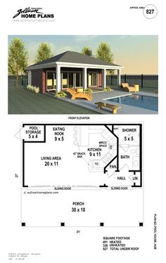 b1 0827 p pool house planspool - Pool House Plans