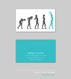 Business Card Design for a massage therapist who wanted to emphasize the transformation from a bad back to a great one. I decided to use the evolution of man as the imagery that would be displayed on the front of the card.