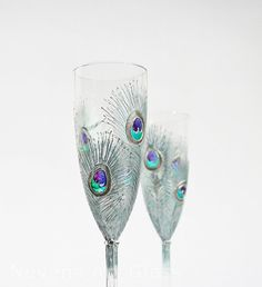 Glasses Silver Mint Peacock Feathers Design Champagne Flutes Hand Painted Set of 2 Green Purple Blue Swarovski Crystals via Etsy