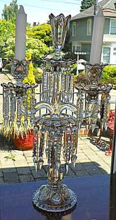 gorgeous candelabra with prisms  Oh Pollyanna.....
