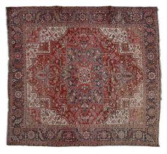 HERIZ / IRAN  Item Number:19908 Width: 10 ft. 9 in. Length: 12 ft. 6 in. Field: GEOMETRIC Field Color: RED Border Color: BLACK www.togarrugs.com (828)-687-1968