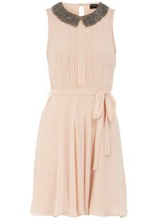 Check out this @DorothyPerkins blush embellished collar dress with a pleated bodice #love $44 http://rstyle.me/h4byrmmtu6