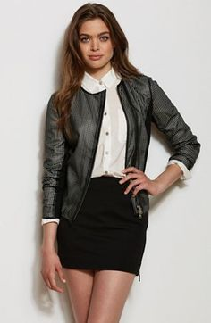In Stores Now! Perforated Faux Leather Moto Jacket, Armani Exchange, $148