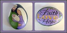 The Heart of Christmas Green and Lavender Reversible Painted Stone by Cindy Thomas