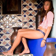 Lucy in Mexico wearing the solimar bikini in bluefossil