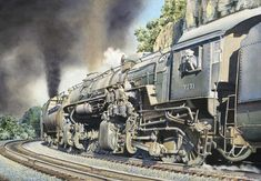 The Baltimore & Ohio was a coal hauling railroad with routing through some of the roughest geography east of the Mississippi. Moving these high-tonnage coal trains, some over 100 cars in length, over the steep mountain grades, required additional horsepower at the rear of the train. This limited edition train print showcases two class EL3 2-8-8-0 locomotives, pushing hard on the back of a coal train, up Newburg Grade on the west-end subdivision.