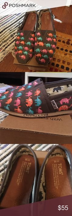 Special edition!! Hand painted elephant TOMS. Special edition!! Hand painted elephant TOMS. These were a special run by TOMS  for hand painted and signed by the artist toms. Worn three times. Comes with box flag and sticker. TOMS Shoes Flats & Loafers