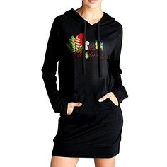 Elva Women Pockets Tunic Top Flounder Christmas Sweatshirt Dress M Black ** You can get additional details at the image link.(This is an Amazon affiliate link and I receive a commission for the sales)
