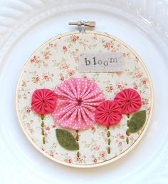 5 inch hoop art bloom in coral by BlossomAndVine on Etsy, $20.00