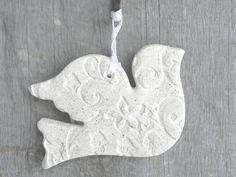Baptism / Wedding Gifts / Favors Salt Dough Dove Ornament