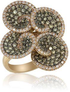 Espresso 14K Rose Gold Cognac and White Diamond Flower Ring