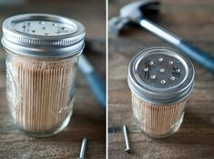 Mason jars are trendy these days and there are so many ways to re-purpose them into many creative things. Everything from flower pots to salt shakers can be made from mason jars. Below is a list of 24 DIY ideas that utilize your old mason jars. Buy Mason Jars, Kerr Mason Jars, Mason Jar Kitchen, Small Mason Jars, Canning Jars, Bottles And Jars, Pill Bottles, Mason Jar Projects, Mason Jar Crafts